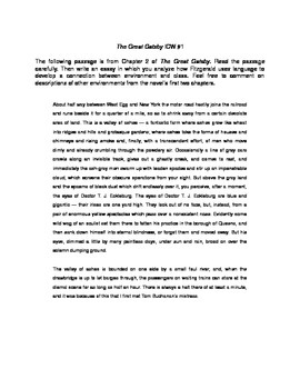 The Great Gatsby: Chapter Two In-Class Essay