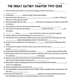 The Great Gatsby Chapter Two Quiz - Cloze Reading Activity