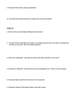 The Great Gatsby Chapter Warm-Ups, Pop Quizzes, and/or Review Sheets