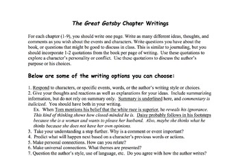 The Great Gatsby Chapter Writings Assignment: A Journal Project