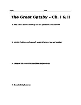 The Great Gatsby - Chapters 1 & 2