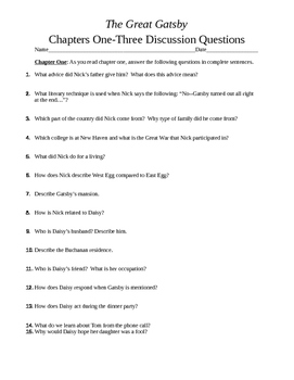 The Great Gatsby Chapters 1-3 Discussion Questions