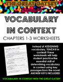 The Great Gatsby Chapters 1-3 Vocabulary in Context Practice Worksheets