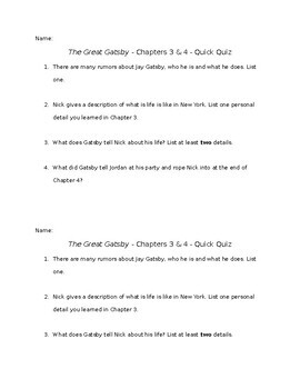 The Great Gatsby - Chapters 3 and 4 - Quick Quiz