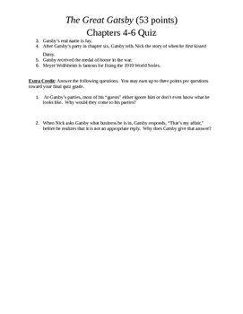 The Great Gatsby Chapters 4-6 Quiz
