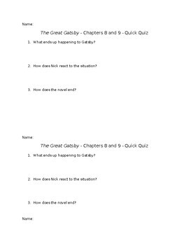 The Great Gatsby - Chapters 8 and 9 - Quick Quiz