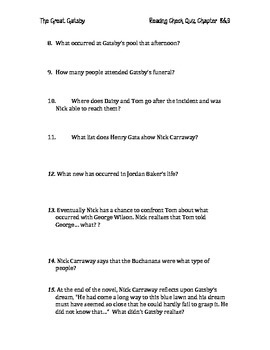 The Great Gatsby Chapters 8&9 Quiz and Answer Key