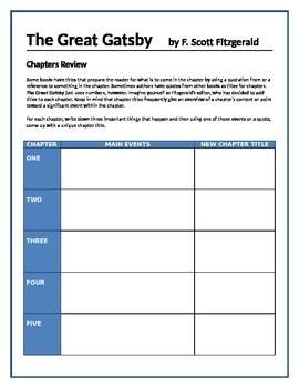 The Great Gatsby - Chapters review activity