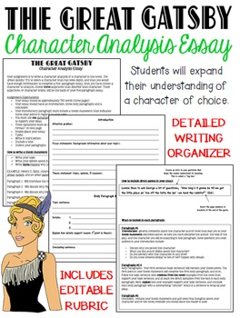 The Great Gatsby Characters Teaching Resources  Teachers Pay Teachers  The Great Gatsby Character Analysis Fiveparagraph Essay