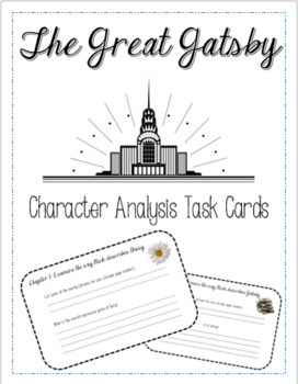 The Great Gatsby  - Character Analysis Task Cards