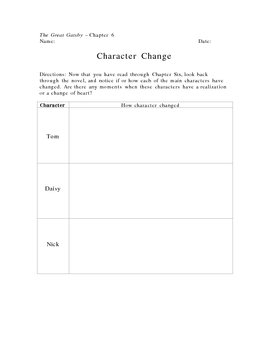 The Great Gatsby Character Change Graphic Organizer