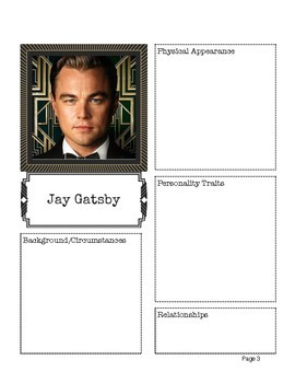 The Great Gatsby Character Chart