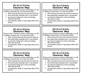 The Great Gatsby - Character Map Task Cards