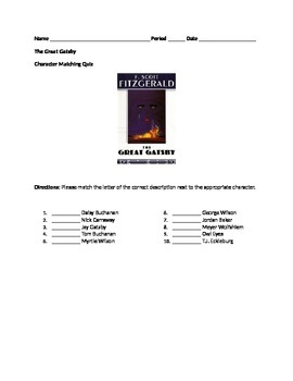 The Great Gatsby Character Matching Quiz
