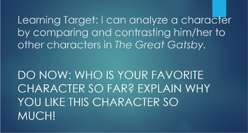 The Great Gatsby Character Meet and Greet Lesson and Graphic Organizer Bundle