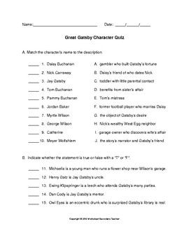 The Great Gatsby Character Quiz with Answer Key