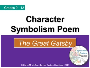 The Great Gatsby - Character Symbolism Poem Worksheet and Lesson (PowerPoint)