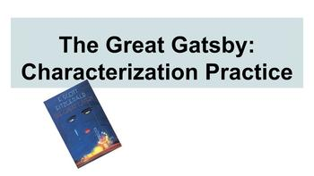 The Great Gatsby Characterization Practice