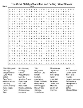 The Great Gatsby Characters and Setting  Word Search and KEY