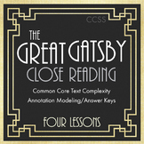 Great Gatsby, F. Scott Fitzgerald, Close Reading Materials for 4 Chapters, CCSS
