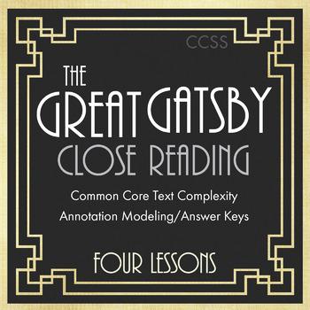 Great Gatsby, F. Scott Fitzgerald, Close Reading Materials