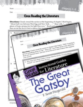 The Great Gatsby Close Reading and Text-Dependent Questions