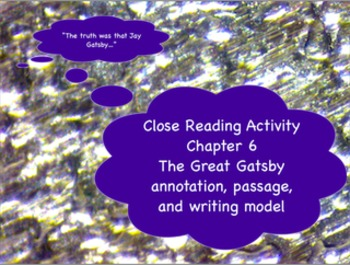 The Great Gatsby: Close reading model from Chapter 6