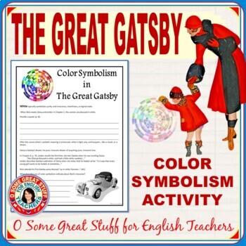 The Great Gatsby Color Symbolism Activity with Key