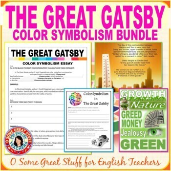 THE GREAT GATSBY COLOR SYMBOLISM BUNDLE Collaboration, PowerPoint, Guided Essay