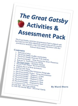 The Great Gatsby Common Core Standards Aligned Activity & Test Pack