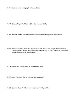 The Great Gatsby Comprehensive Test and Detailed Answer Key
