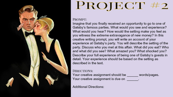 The Great Gatsby Creative Writing Projects