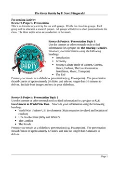 The Great Gatsby - Creative and Functional Writing Assignments