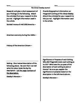 The Great Gatsby Critical Reading Journal