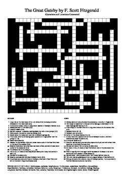 The Great Gatsby - Crossword Puzzle