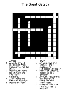The Great Gatsby Crossword Puzzle Worksheet
