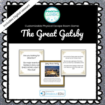 The Great Gatsby Customizable Escape Room / Breakout Game