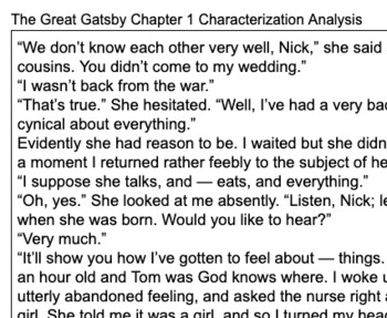 The Great Gatsby Daisy Chapter 1 Character Analysis