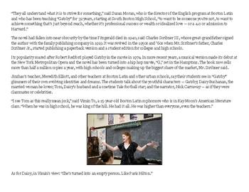 The Great Gatsby Debate & Final Essay