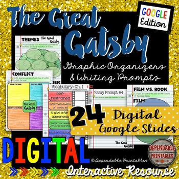 The Great Gatsby: Digital Graphic Organizers & Writing Prompts Google