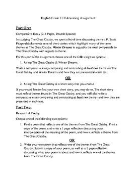 The Great Gatsby Essay Assignment