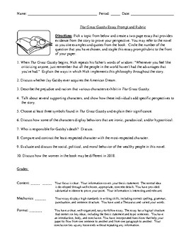 The Great Gatsby Essay Prompts with Detailed Rubric