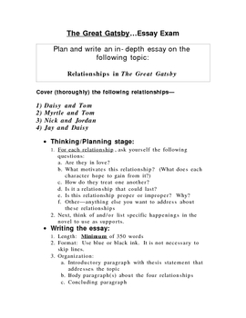 Persuasive Essay Outline Worksheet  The Great Gatsby Essay Test Over Relationships In The Novel Facebook Essay also Topics For Descriptive Essay Great Gatsby Essay Teaching Resources  Teachers Pay Teachers Essay Of Abortion