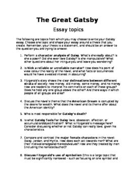 The Great Gatsby Essay Topics