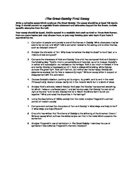 The Great Gatsby Essay With Choices By Ela Resource Center  Tpt The Great Gatsby Essay With Choices