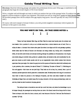 The Great Gatsby Essay/Timed Writing prompts: Tone & Theme