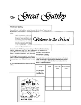 The Great Gatsby:  Expository Writing- Violence in the Novel