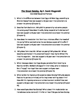 The Great Gatsby Extended Response Prompts