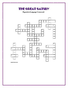 The Great Gatsby: Figurative Language Crossword—Creative!