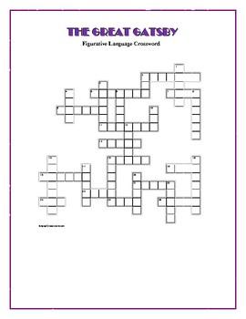 The Great Gatsby: Figurative Language Crossword—Creative!